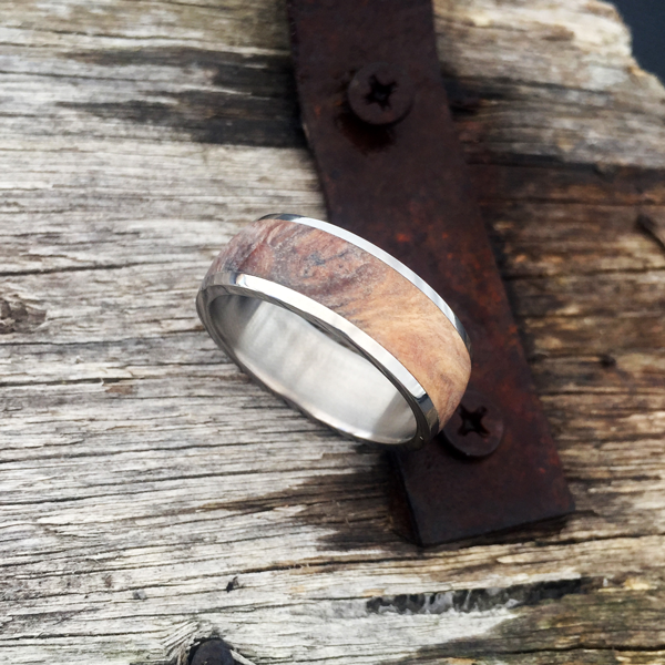 Custom rib fruit mallee burl with titanium liner and rails. $990 + shipping - all ring sizes.