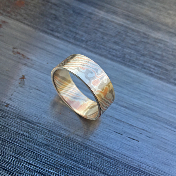 Pure mokume-gane ring featuring rose gold, white gold and silver. Pricing starts at $1990 - contact us for a quote.