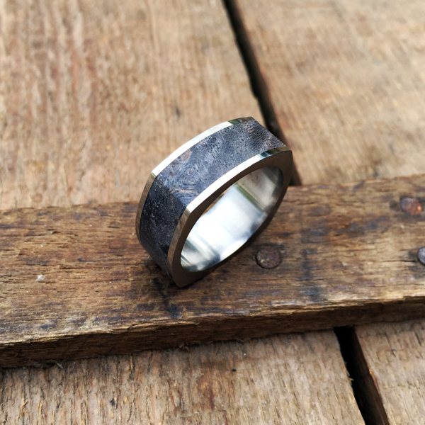 Squircle shaped maple burl ring with titanium liner and rails. Also available in classic round shape. $990 + shipping - all ring sizes.