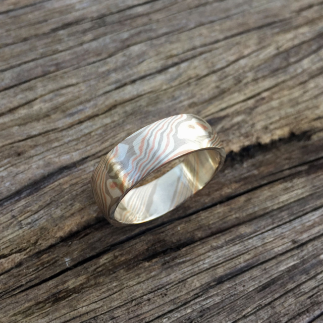 Pure mokume-gane ring featuring white gold, rose gold and silver. Pricing starts at $1990 - contact us for a quote.