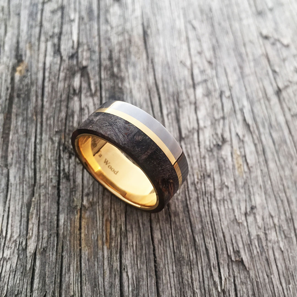 Custom maple burl ring with 18ct gold liner and inlay + tantalum rail. Prices start at $1990 for up to and inc. size T.