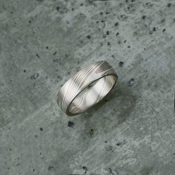 Pure mokume-gane ring featuring white gold and silver. Pricing starts at $1990 - see pricing tab below.