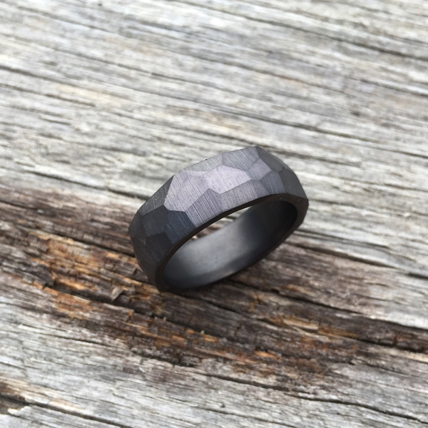 Crystallised Tantalum ring. Darkened finish. 8.5mm wide. $990 + shipping - all sizes.