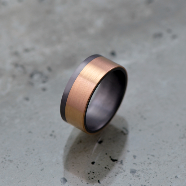 Tantalum ring with 9ct rose gold sleeve. 7.5-8.5mm wide. From $1590 for sizes up to and inc. T + shipping.