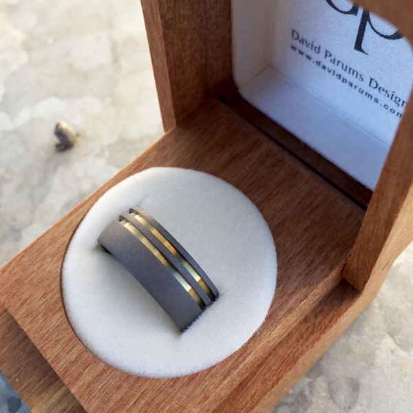 Sandblasted titanium ring with dual bands in silver, blue, gold or purple. 8.5-9mm wide. Round or flat profile. $550 + shipping – all sizes.