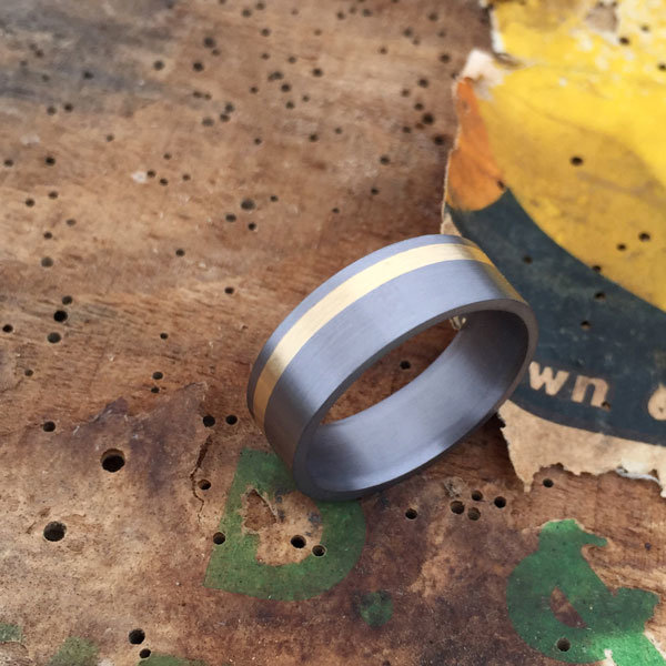 Tantalum + 18ct gold inlay ring. Comes in rose, yellow or white gold. Made 7-9m wide. $1480-$1550 + shipping (based on width).