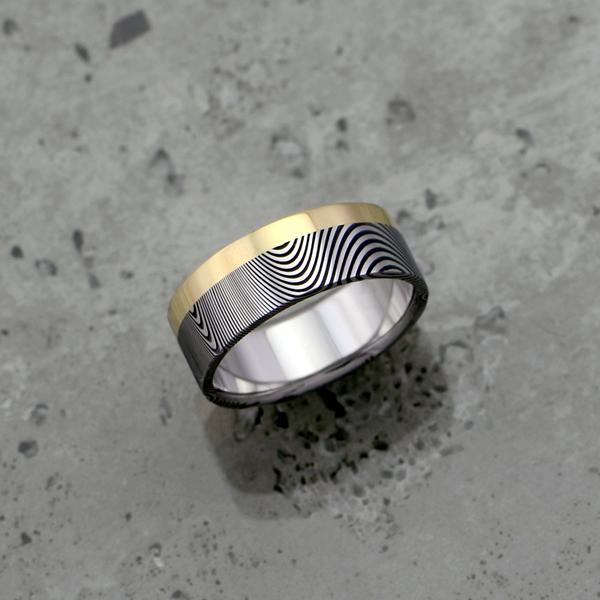 Damascus steel ring + 18ct yellow gold single rail. Dark etch and flat profile. $1550 + shipping - all sizes.