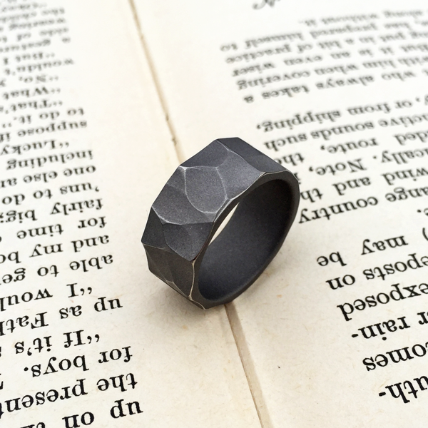 Distressed titanium ring. Sandblasted finish with worn peaks. 8-9mm wide. $550 + shipping – all sizes.