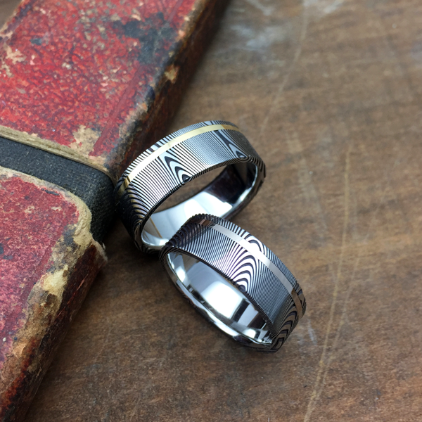 Damascus steel ring + 18ct gold off-centre inlay. Dark etch & flat profile. $1350 + shipping - all sizes.