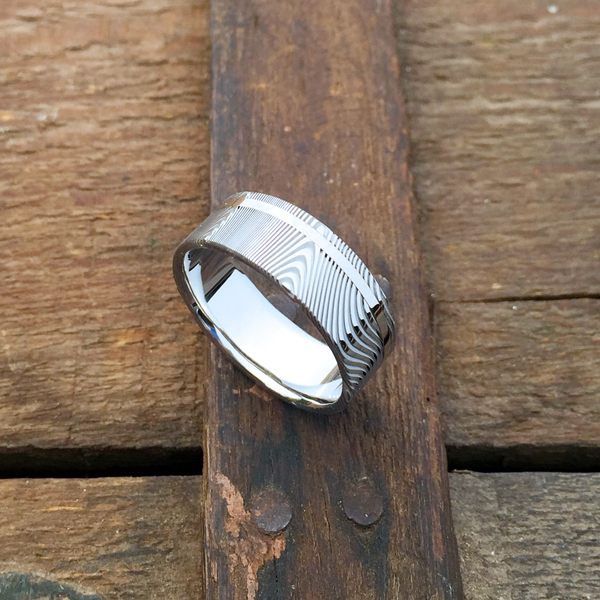 Damascus steel ring + 18ct white gold off-centre inlay. Light etch & flat profile. $1350 + shipping - all sizes.