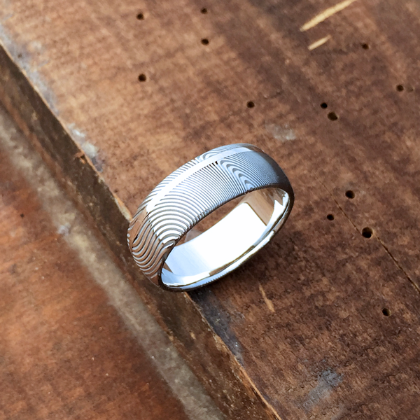 Damascus steel ring + 18ct white gold off-centre inlay. Light etch & round profile. $1350 + shipping - all sizes.