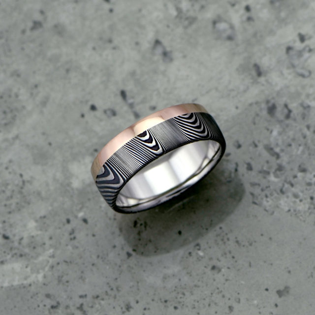 Damascus steel ring + 18ct rose gold single rail. Dark etch and round profile. $1550 + shipping - all sizes.