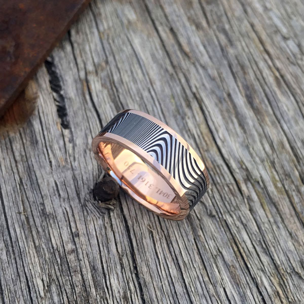 Damascus +18ct rose gold liner and rails. Dark etch. Round profile. From $1990 - see pricing tab below.