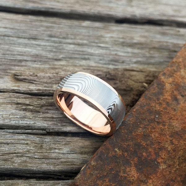 Damascus +18ct rose gold liner and rails. Light etch. Round profile. From $1990 - see pricing tab below.