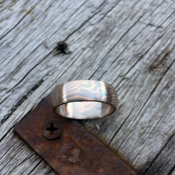 Pure mokume-gane ring featuring rose gold and palladium. POA - contact us for a quote.