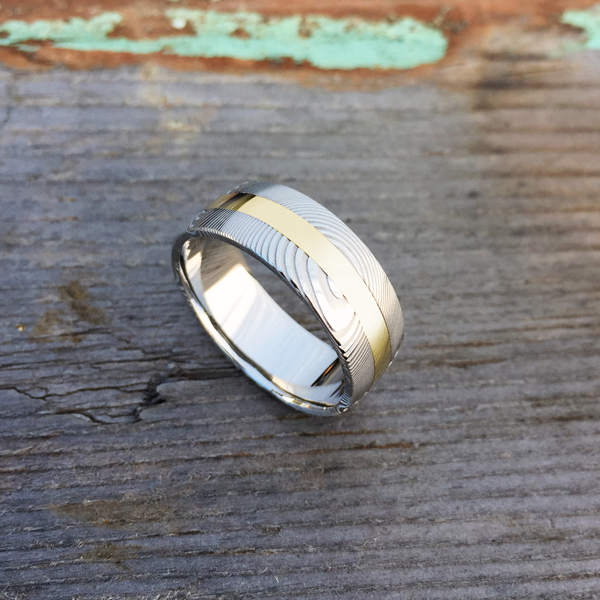 Damascus steel ring + 18ct yellow gold central inlay. Light etch & round profile. $1550 + shipping - all sizes.