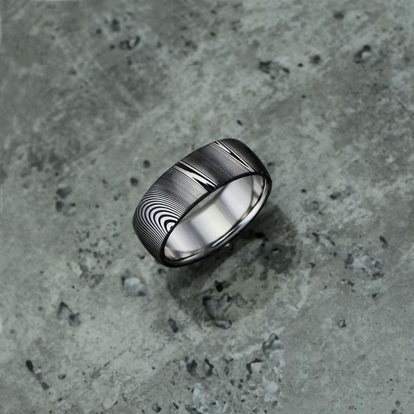 Pure Damascus steel ring. Round profile. Dark etch.