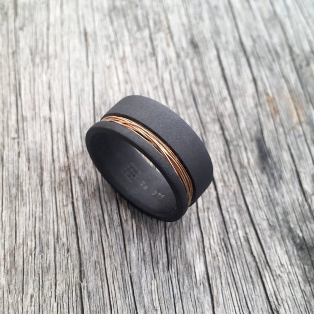 Sandblasted tantalum + 9ct gold wire ring. 7.5-8.5mm wide (falt profile only). $990 + shipping - all sizes.
