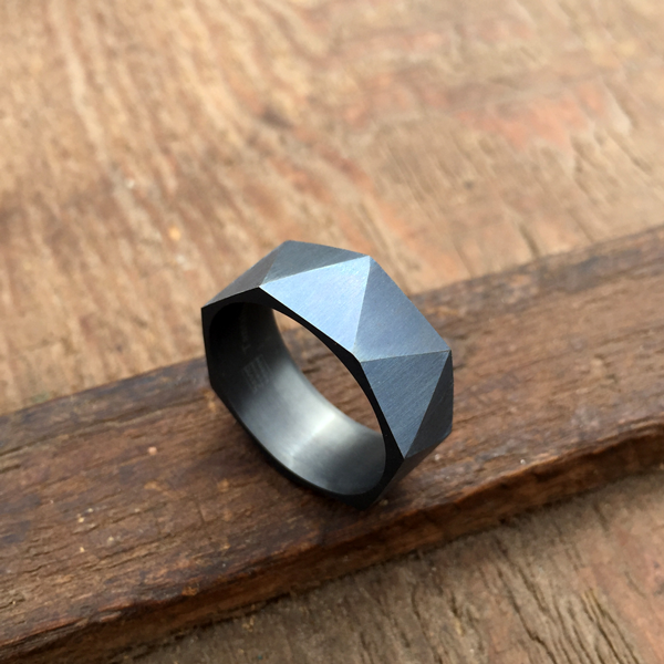 Faceted Tantalum ring. 8.5mm wide. Darkened finish. $990 + shipping - all sizes.