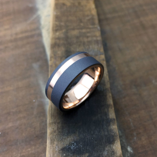 Sandblasted tantalum + 18ct gold liner & inlay. Comes in yellow, white or rose gold. Made 7.5-8.5mm wide (flat profile only). From $2240 + shipping.
