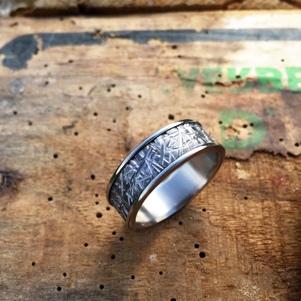Textured Tantalum with titanium liner and rails. 7.5-8.5mm wide. $1200 + shipping - all sizes.