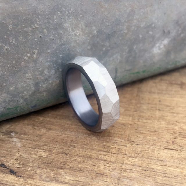 Crystallised silver ring with tantalum liner. 7 - 8mm wide. $1250 + shipping - all sizes.