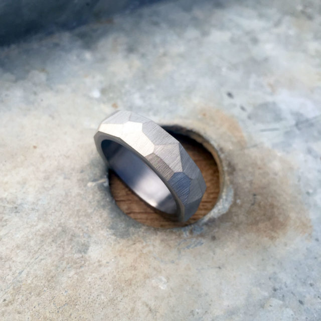 Crystallised titanium ring with tantalum liner. 7 - 8mm wide. $1100 + shipping - all sizes.