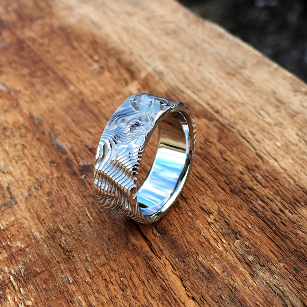 Custom rough finish Pure Damascus steel ring (light etch only). $990 + shipping - all ring sizes.