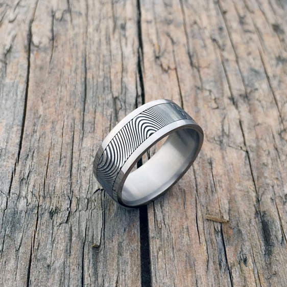 Damascus steel ring with a titanium liner and rails. Dark etch. Round or flat profile. $1500 + shipping - all sizes.