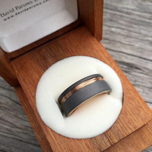 Sandblasted titanium + 9ct rose gold wire inlay. Flat profile only. 8.5mm wide. $750 + shipping – all sizes.