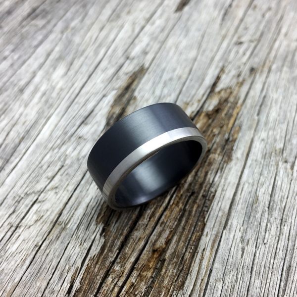 Zirconium + platinum rail. Flat profile only. 7.5 - 8.5mm wide. $1650 + shipping - all sizes.