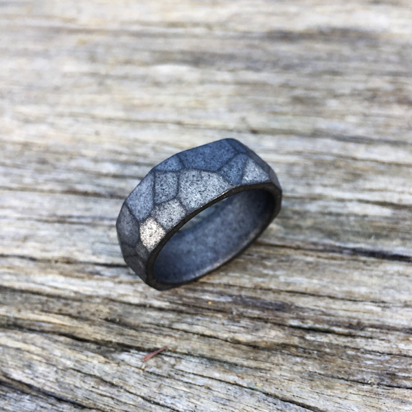 Stone-wash faceted titanium ring. 8-9mm wide. $550 + shipping – all sizes.