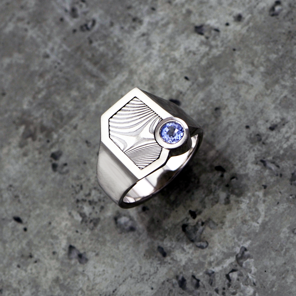 Palladium and Damascus signet ring with light purple sapphire. *Priced from $2650 + shipping. Also available in silver from *$1520.