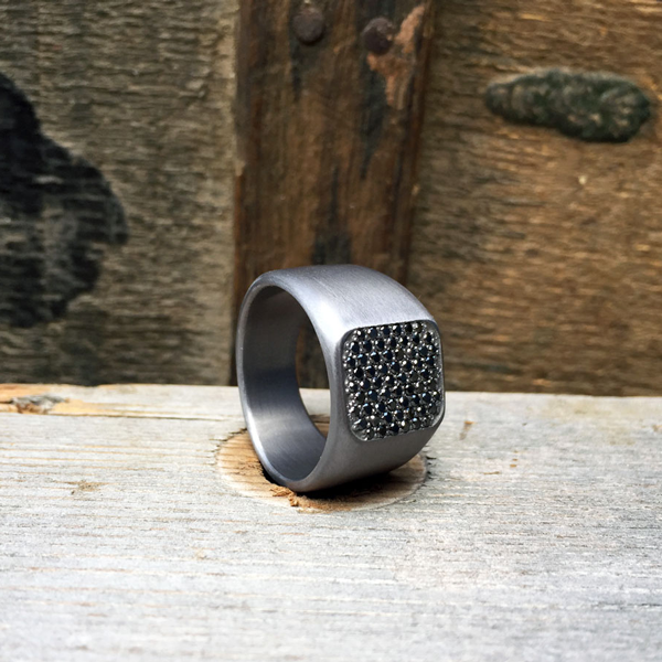 Tantalum and black diamond signet ring. Priced at $3400 + shipping - all ring sizes.