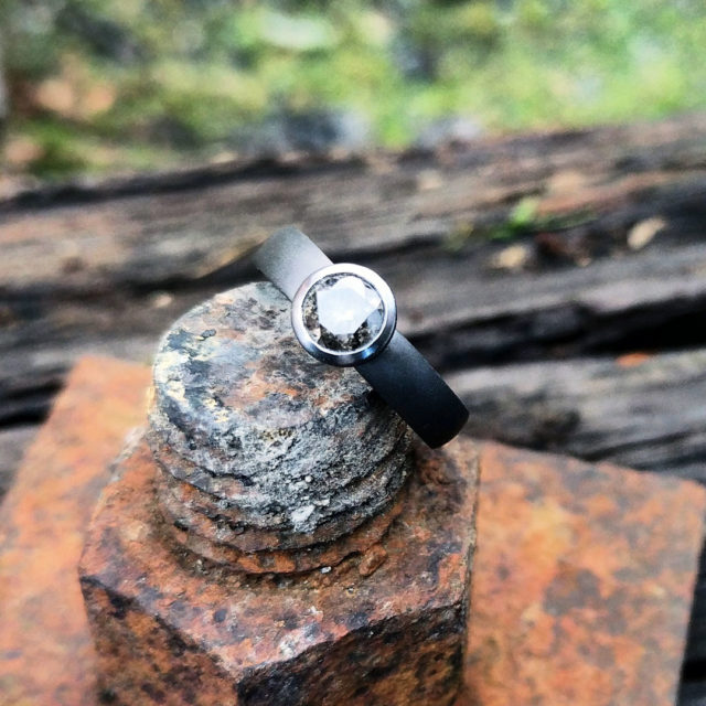 Tantalum ring with bevel set salt and pepper diamond. P.O.A, Contact us for a quote.