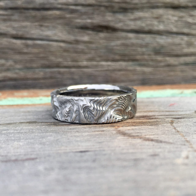 Custom rough finish Pure Damascus steel ring (light etch only). $990 + shipping - all sizes.