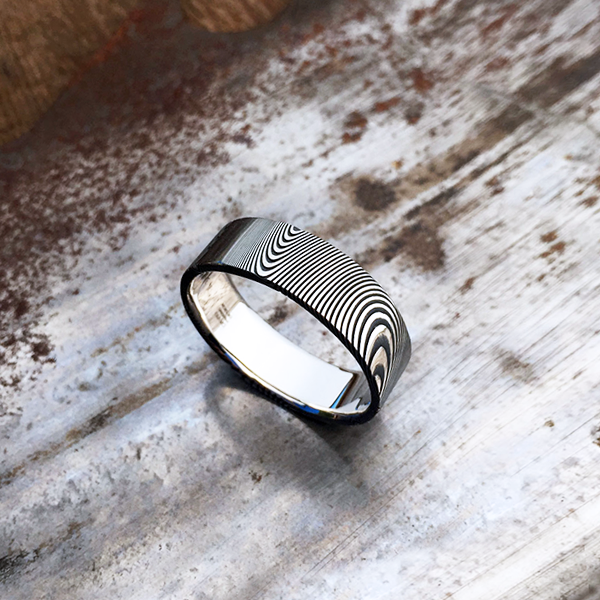 Pure Damascus steel ring. Dark etch & flat profile. $990 + shipping - all sizes.