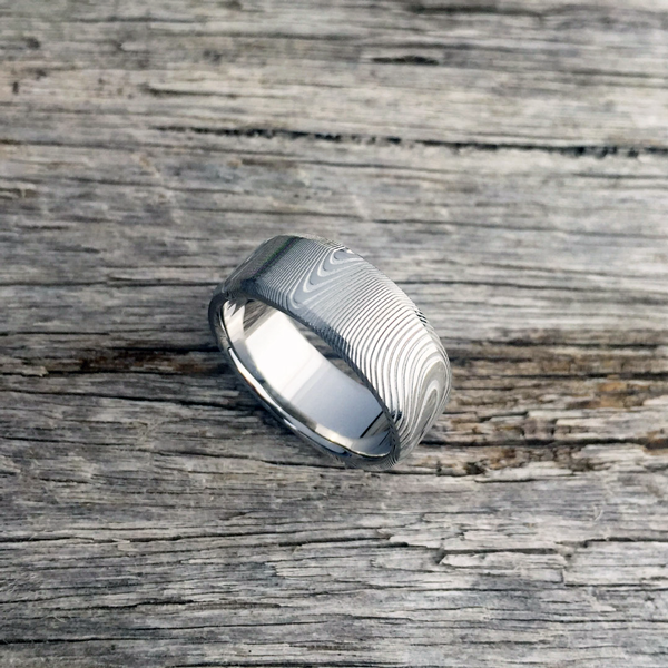 Pure Damascus steel ring. Light etch & bevelled edges. $990 + shipping - all sizes.
