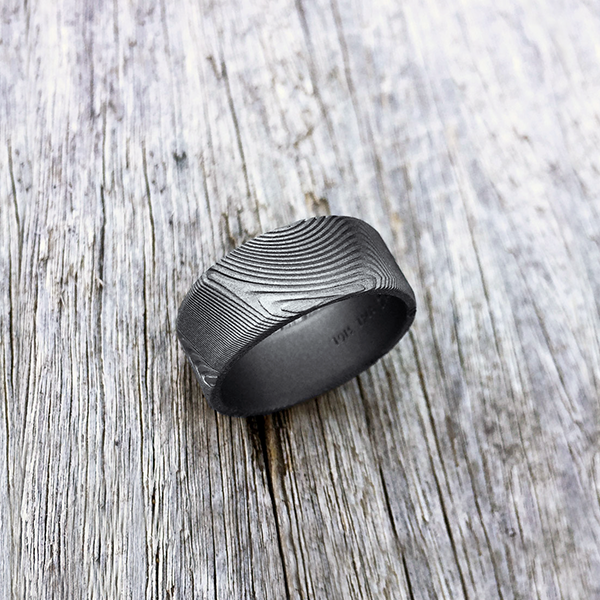Pure Damascus steel ring. Sandblasted finish. Round or flat profile. $990 + shipping - all sizes.