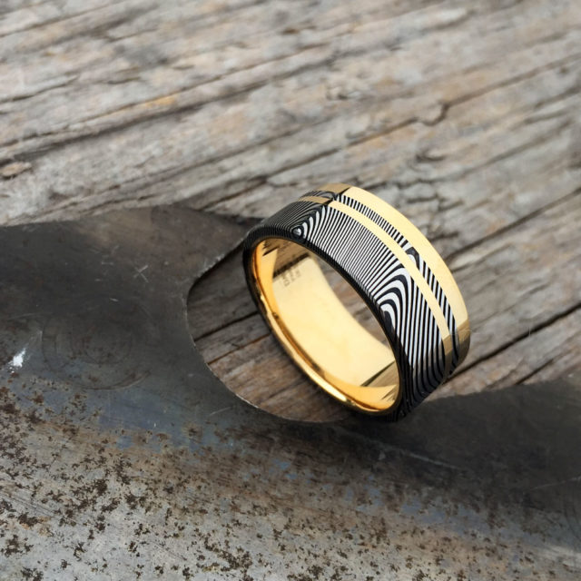 Damascus + 18ct yellow gold liner, rail and inlay. Dark etch and flat profile. From $2190 - see pricing tab below.