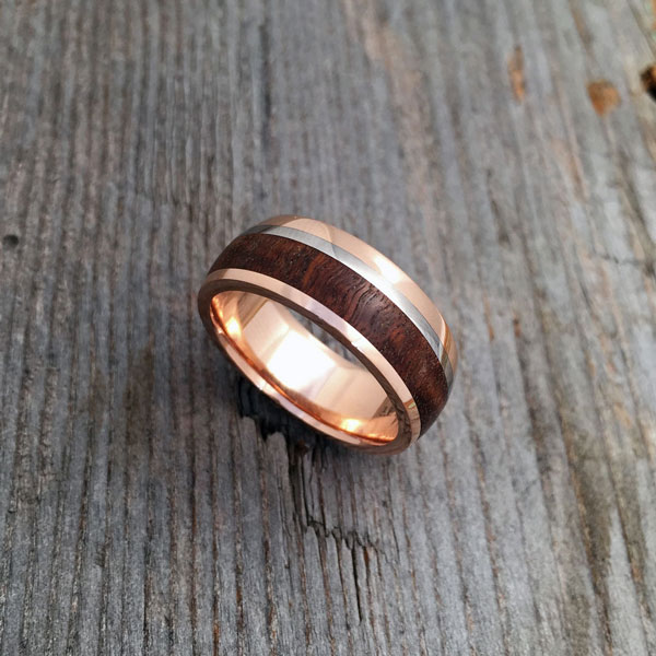 Wood + rose gold liner and rails + white gold inlay. Round or flat profile. From $2190 + shipping - see pricing tab below.